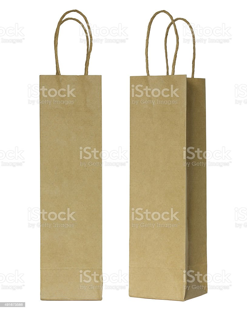 brown paper bag for wine bottles stok fotoğrafı