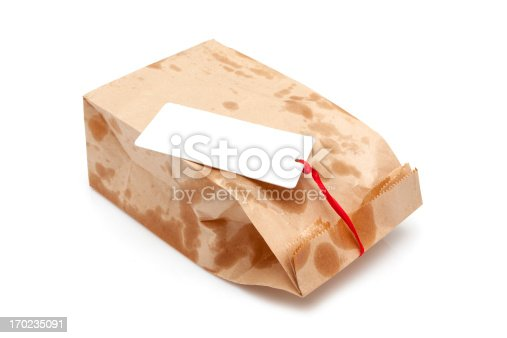 istock Brown Paper Bag isolated on white background 170235091