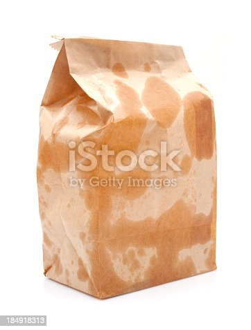 istock Brown Paper Bag isolated on white background 184918313