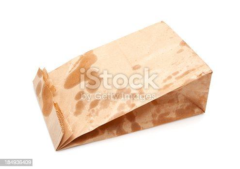 istock Brown Paper Bag isolated on white background 184936409