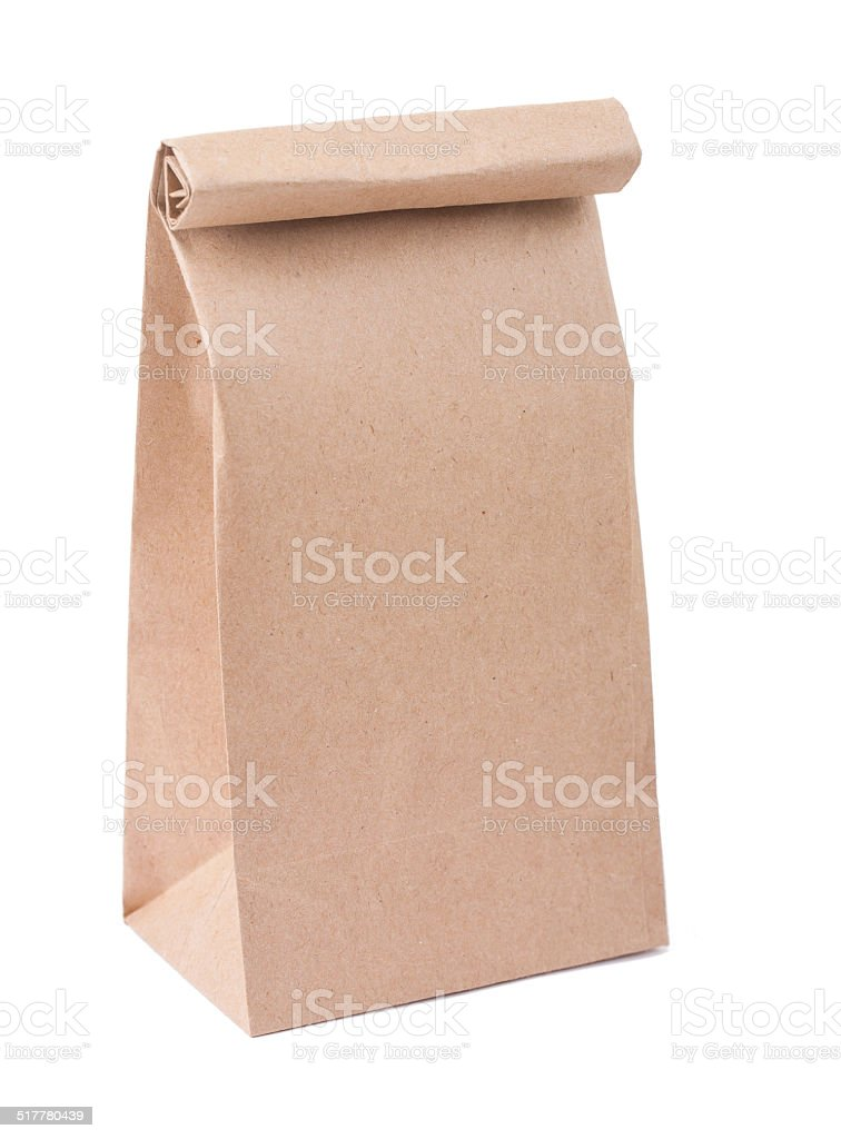 brown paper bag isolated on white background stock photo