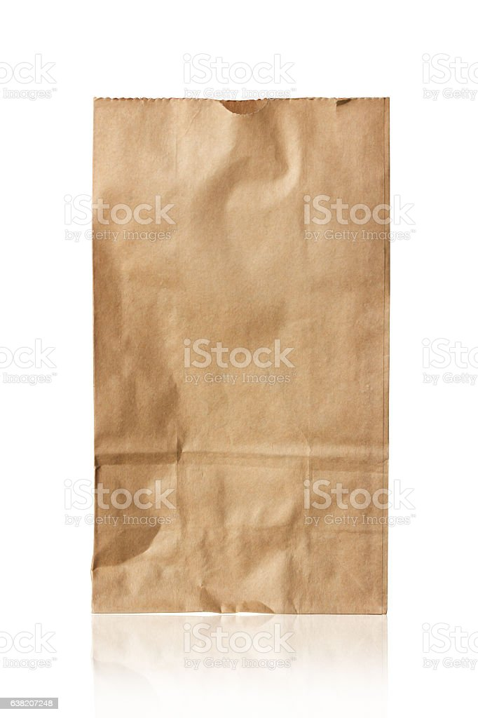 Brown paper bag isolated on white stock photo