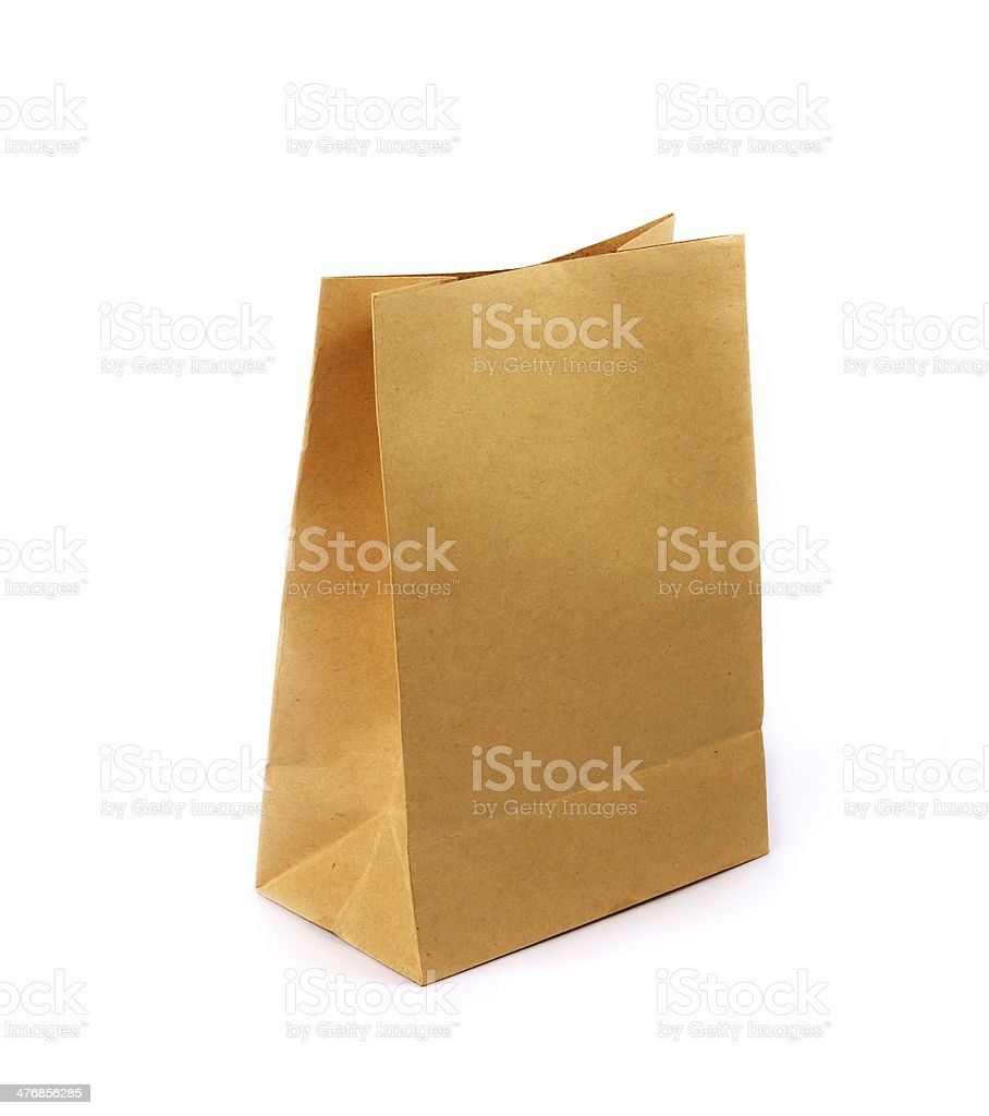 Brown paper bag isolated over white background stock photo