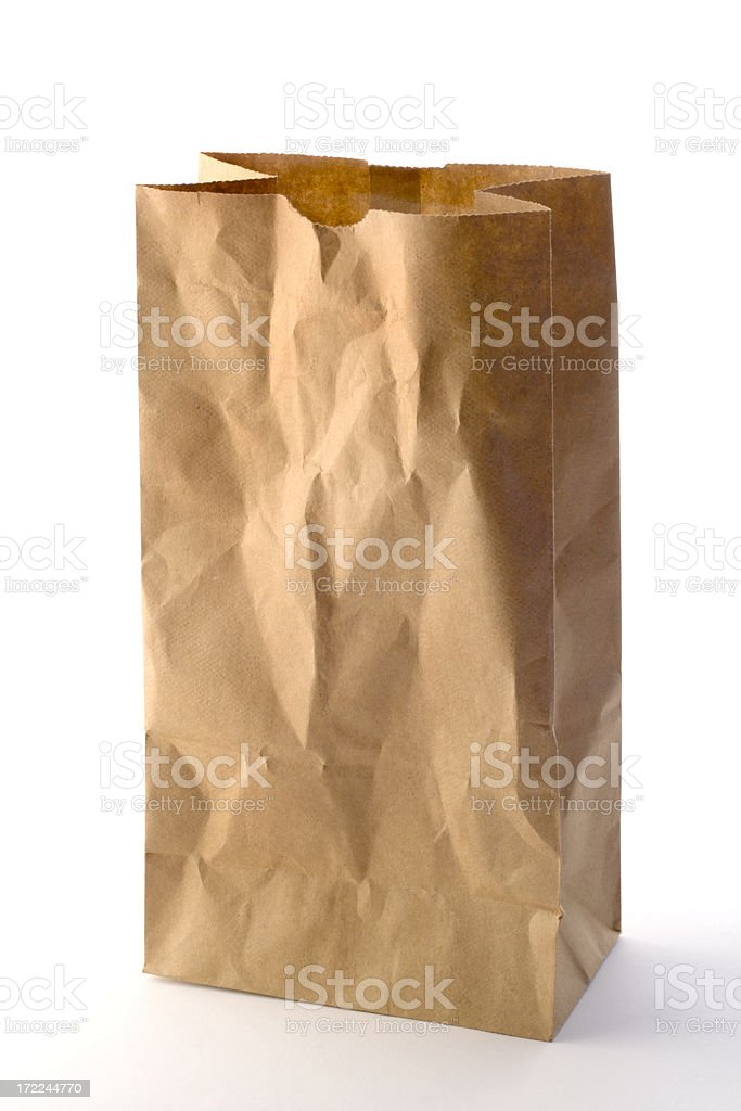 Brown Paper Bag Packed Lunch, Take Out Food on White stock photo