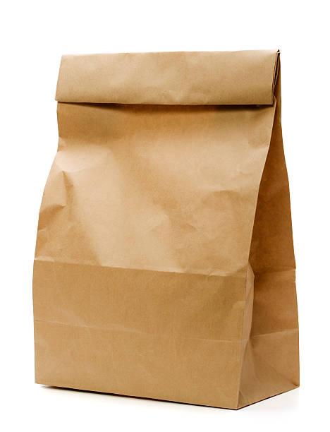 sacchetto di carta marrone - pasto al sacco foto e immagini stock