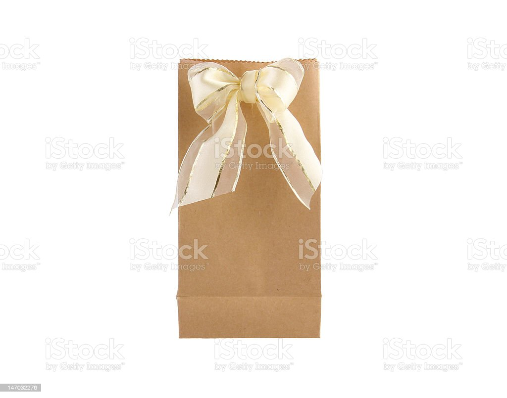 Brown Paper Bag with bow royalty-free stock photo