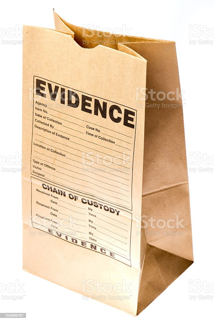 Brown paper bag with evidence form stamped on the side stock photo