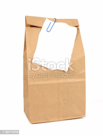istock Brown paper bag with notepaper 116471019
