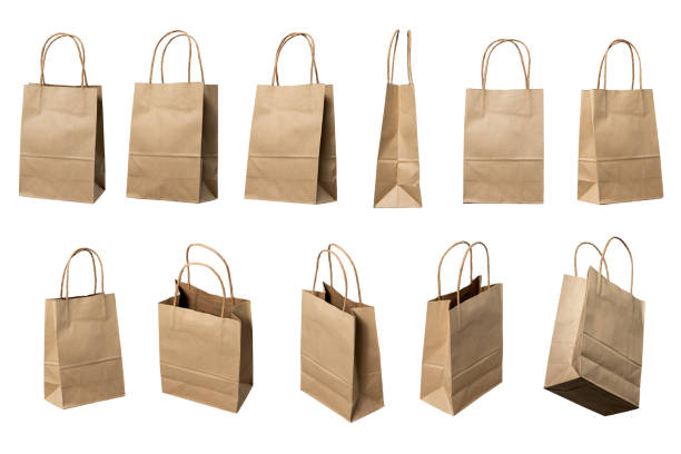 Brown paper bags high resolution multi views collection stock photo