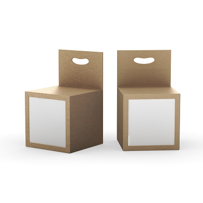 Brown paper box packaging with front window and hanger, clipping path included. Template package for variety product like ink cartridge, electronic or stationery. ready for Your Design and artwork . .