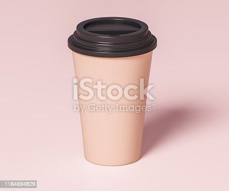 istock Brown paper cup for beverages with black lid - 3D illustration 1164694829