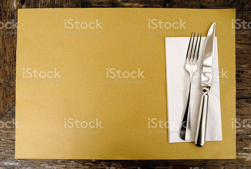 Brown Paper Place Setting stock photo