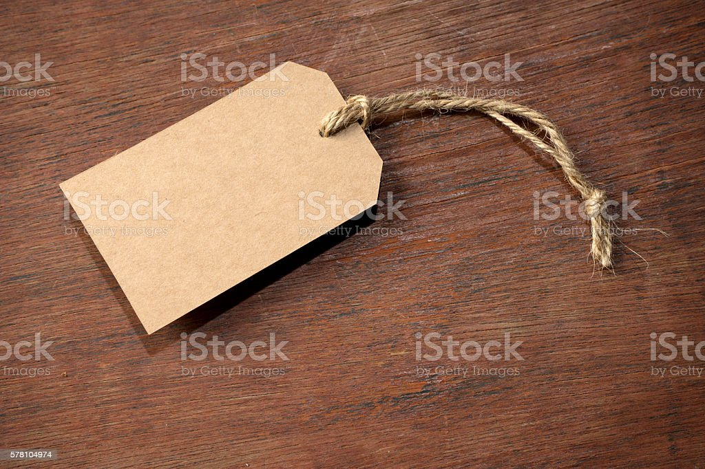 brown paper price tag with burlap rope stock photo