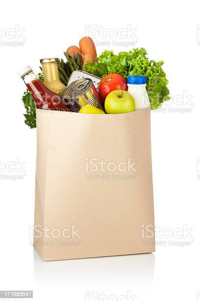 Brown paper shopping bag full of groceries on white backdrop picture id171583541?b=1&k=6&m=171583541&s=612x612&h=ay71gxwjro7bo52n4rsn4cpeua5i orha4aeaobpbgq=