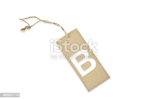 istock Brown paper tag with letter B cut 483331118