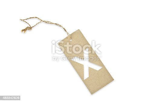 istock Brown paper tag with letter X cut 483342626