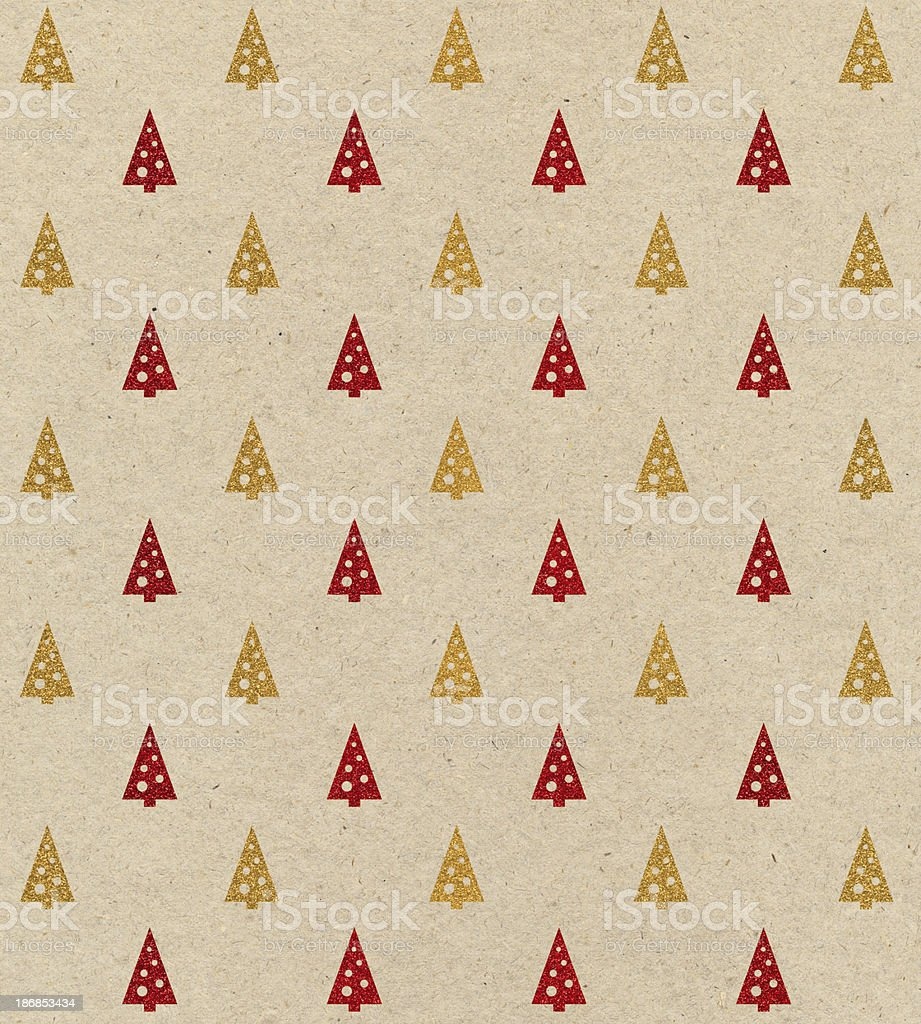 brown paper with Christmas tree design stock photo