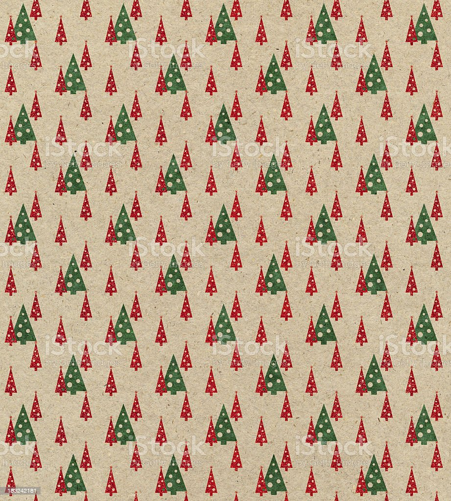 brown paper with Christmas tree pattern stock photo
