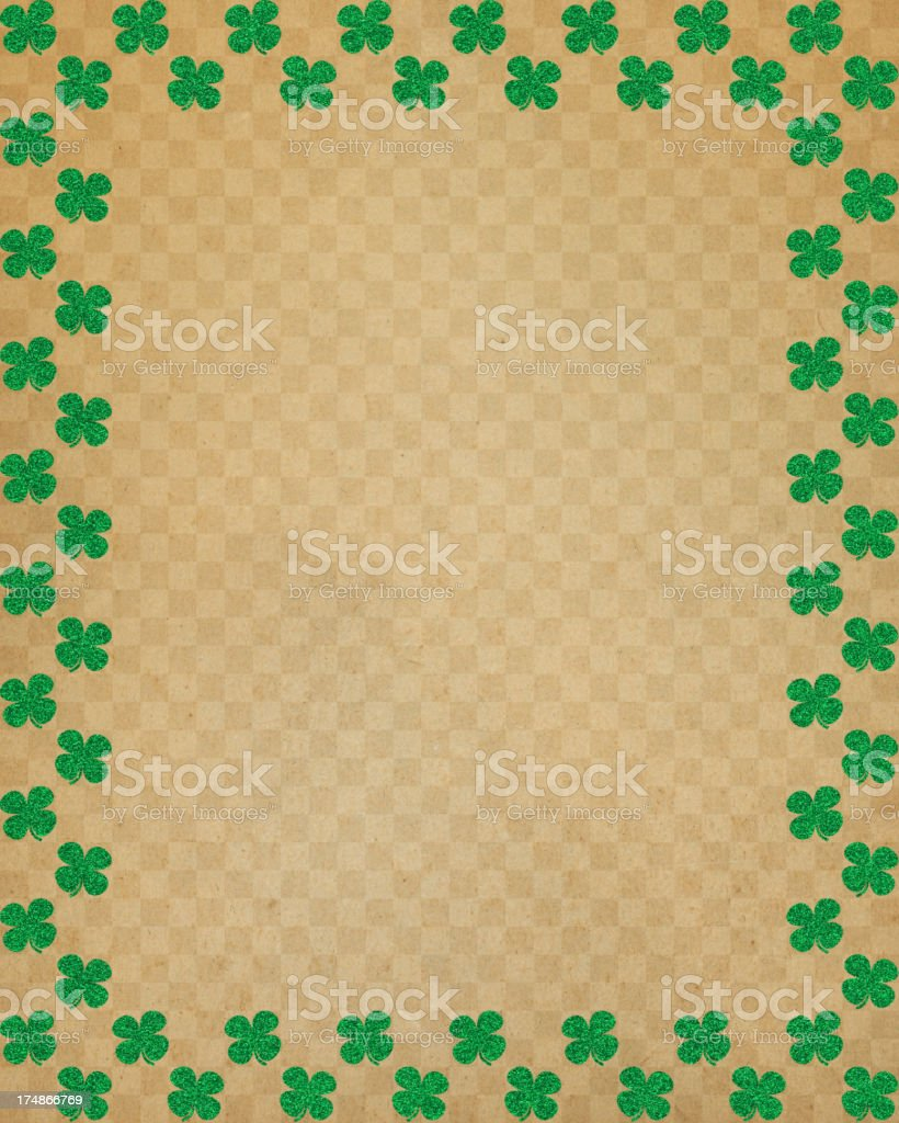 brown paper with glitter clover frame royalty-free stock photo