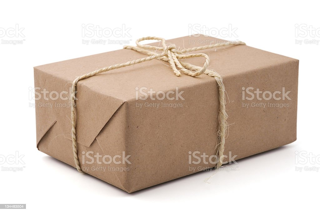 Brown parcel, isolated, white background royalty-free stock photo