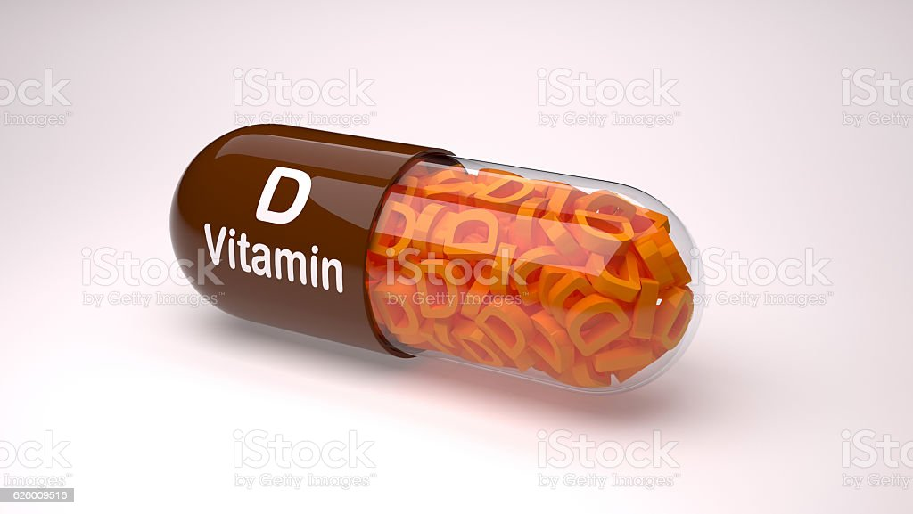 Brown pill or capsule filled with vitamin D. vector art illustration