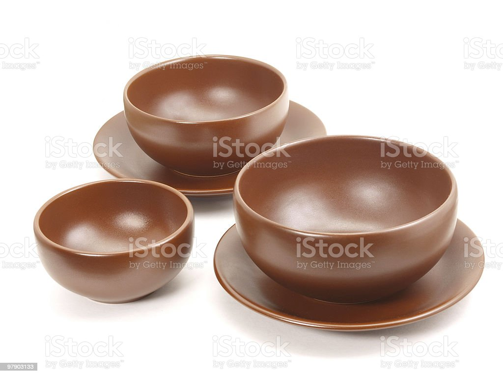 Brown plates royalty-free stock photo