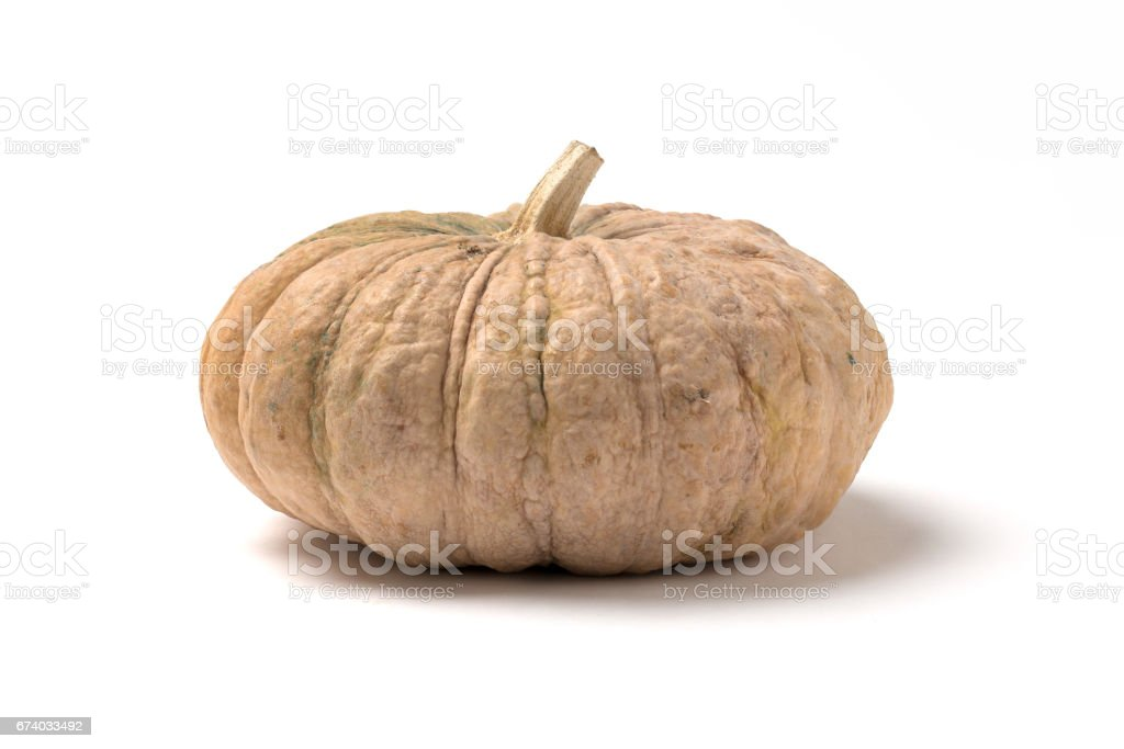 Brown pumpkin on white background, original natural from Thailand. royalty-free stock photo