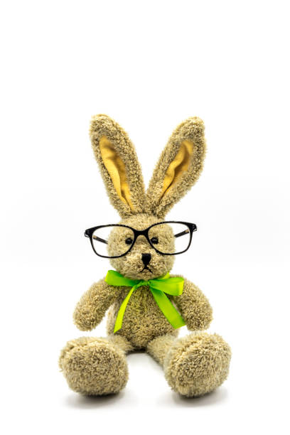 Brown rabbit with glasses Easter bunny osterhase stock pictures, royalty-free photos & images