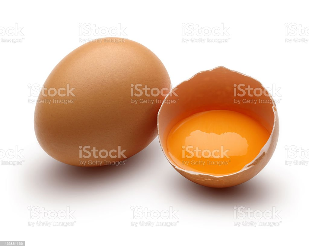 Brown raw chicken eggs stock photo
