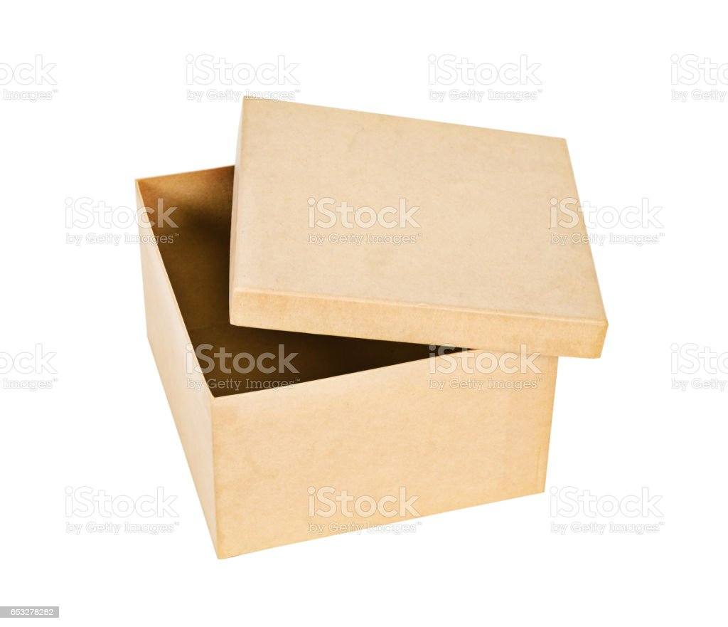 Brown recycle paper box isolated on white stock photo