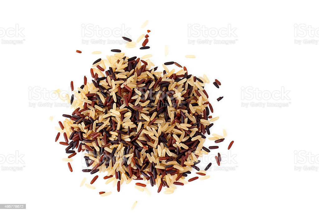 Brown, red and black rice mix stock photo