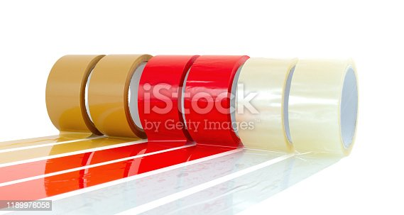 Brown, red and transparent (clear) adhesive tape isolated on white background with shadow reflection - clipping paths. Reels of sticky tapes.  Parcel packing equipment wallpaper.