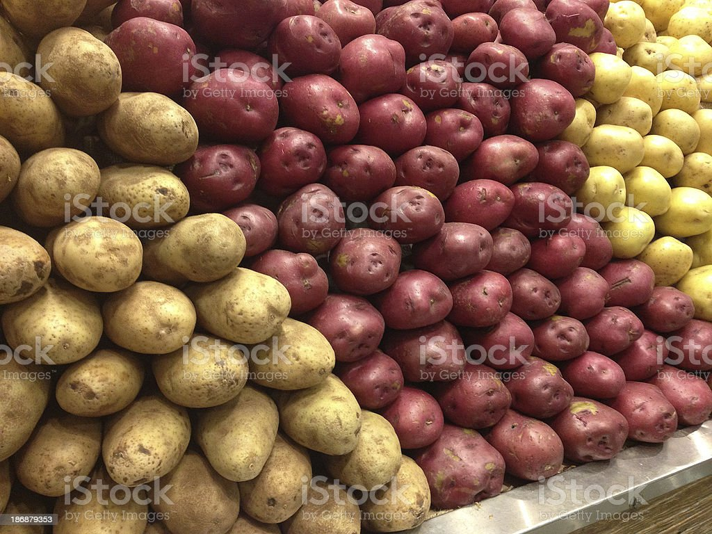Brown, Red and Yellow Potatoes royalty-free stock photo