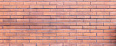 Brown red color brick wall texture, background. Traditional building facade