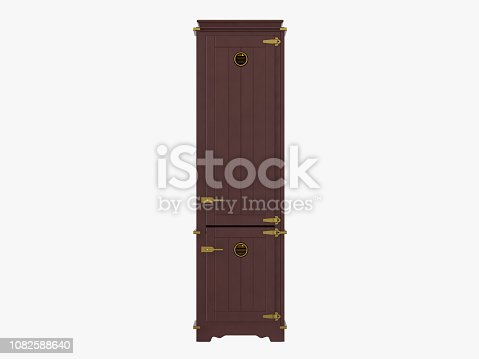 istock Brown refrigerator on white background 1082588640