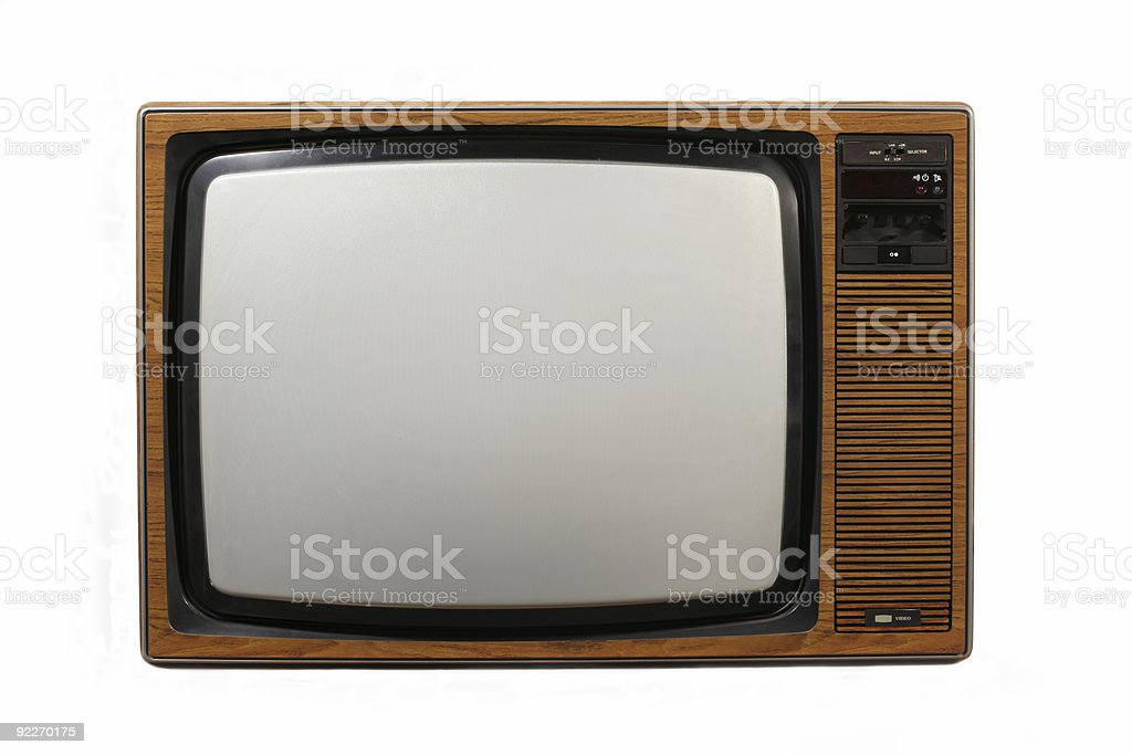 Brown retro television set on a white background stock photo