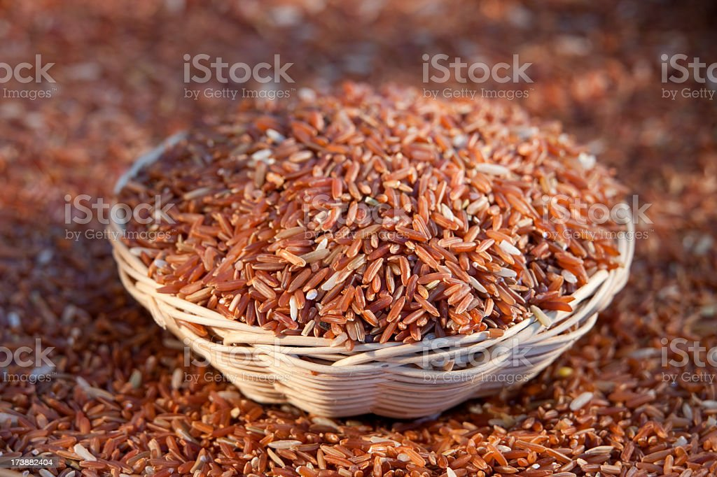 Brown rice in a basket. royalty-free stock photo