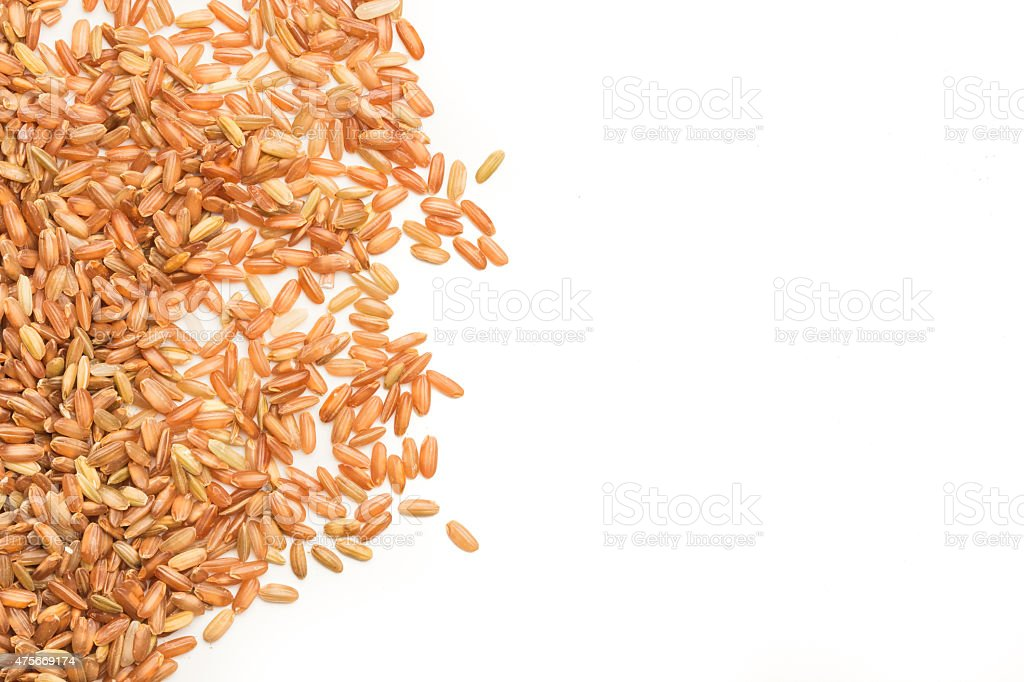 brown rice isolated stock photo