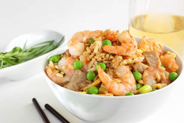 Brown rice, shrimp and pork stock photo