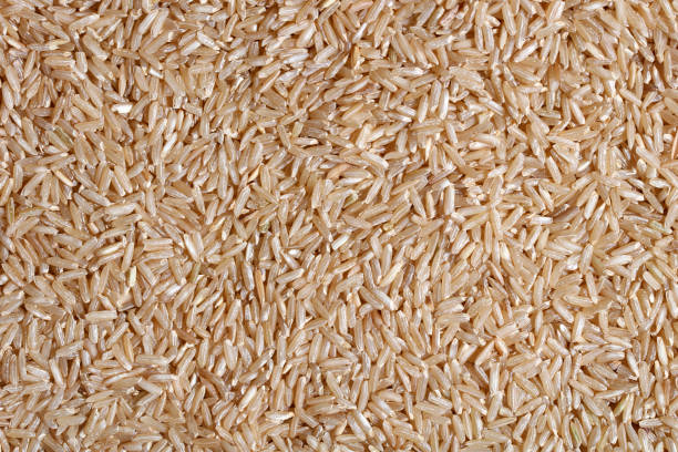 Brown rice texture (raw food ingredient) stock photo