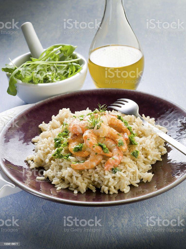brown rice with shrimp and arugula pesto royalty-free stock photo