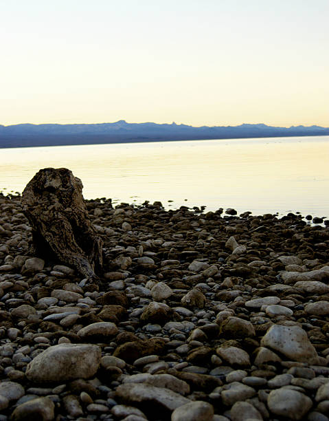 Brown Rocks, Lake Mohave Shoreline - Searchlight, Nevada, USA stock photo