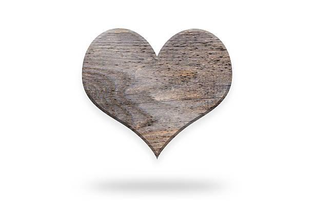 Brown Run Down Wooden Heart Shape stock photo
