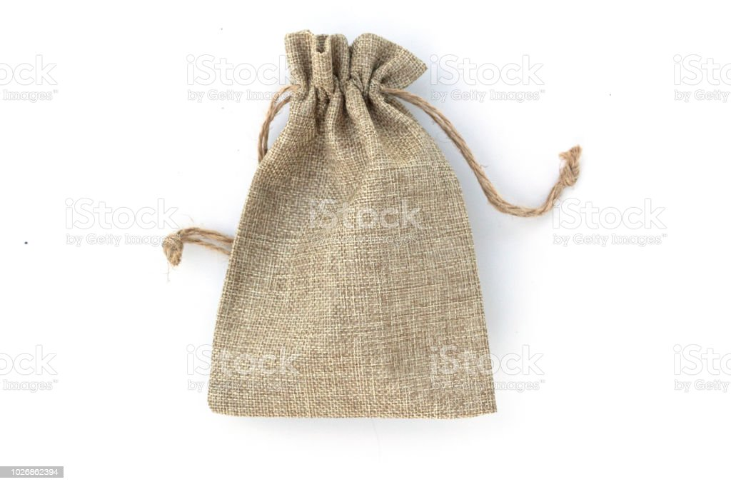 Brown sack isolated on white background. stock photo
