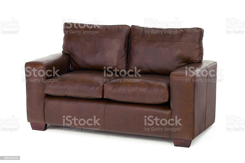 Brown settee isolated on white stock photo