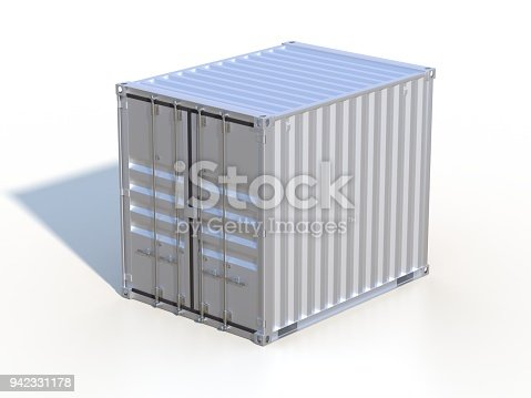944243850 istock photo Brown ship cargo container side view 10 feet length 942331178