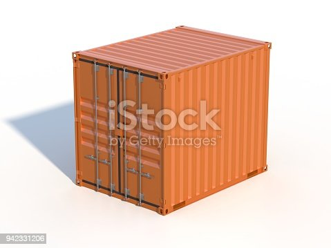 944243850 istock photo Brown ship cargo container side view 10 feet length 942331206
