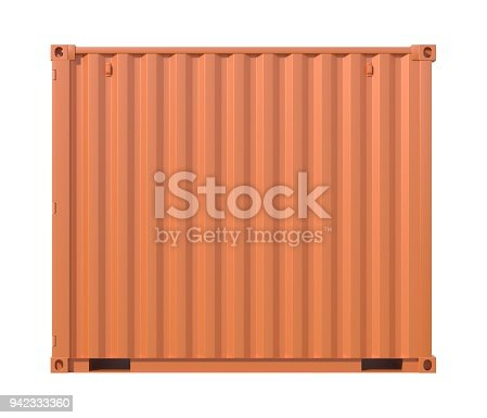 944243850 istock photo Brown ship cargo container side view 10 feet length 942333360