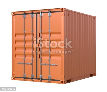 944243850 istock photo Brown ship cargo container side view 10 feet length 943155540