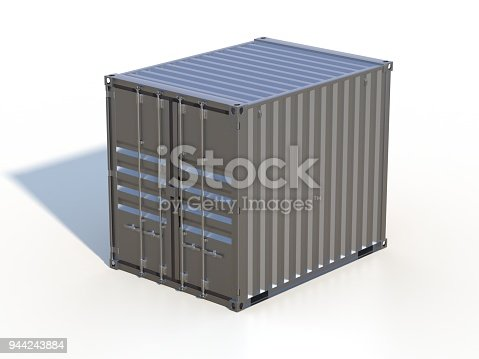 944243850 istock photo Brown ship cargo container side view 10 feet length 944243884